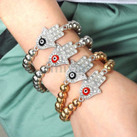 Wholesale Evil Eye Rhinestones Handmade Silver Gold Side Ways Sideways Cross Bracelet Hand Beaded Bracelets JB08006 JB08007