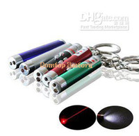 Red No No Fedex free shipping wholesale 3in1 laser pen red Laser Pointer+ 2 LED Flashlight +UV Torch Keychain +3 battery 200pc