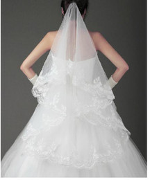 Wholesale White Ivory Finger Length New Bridal Wedding Prom Dress Veil With Lace Purfle