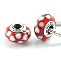9mm*15mm Red Round 5pcs 925 Sterling Silver Oxidized Threaded Screw Lots Of Hearts Red Murano Glass Beads Fit Pandora Charm Jewelry Bracelets & Necklaces