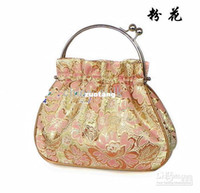 Wholesale Pretty Latest Evening Handbags Small Silk Metal Clasp Hand Bag Purse mix color Free