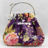 Wholesale Fashion Evening Hand Bags Silk Fabric Metal Clasp Small Handbag Purse mix color Free