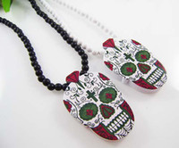 Unisex hip hop chain - WOOD Necklace GOOD NYC Hip Hop Color Skull PENDANT CHAIN Beaded rosary jewelry Factory Cheap Price C0638