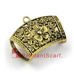 12PCS LOT, Super Fashion DIY Jewelry Necklace Scarf Pendant Accessories Antique Bronze Alloy Flower Slide Bails, Free Shipping, AC0138B