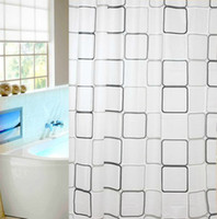 Wholesale Hot selling fashion peva shower curtain black square grid waterproof bathroom shower curtain shower curtain180 cm