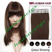 Wholesale 1 Set quot quot quot quot quot Tape in Skin Human Hair Extensions Remy Tape Hair Extensions Color Chocolate Brown set