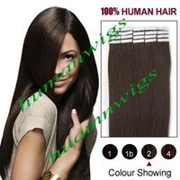 Wholesale 1 Set quot quot quot quot quot Tape in Skin Human Hair Extensions Remy Tape on Hair Extensions Color Dark Brown set