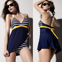 Polyester Plus Size Sexy Swimsuit 2014 New Hot Sailor Stripe Women Padded Beach Swimwear Sexy Swimsuit Swim Dress Navy Blue Plus Size Bikini Tankini Attached Bottom KS-27 #XJ