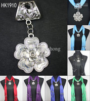 Wholesale Fashion scarf jewelry with pendants petals jewellery Designers scarves charms necklace beads pcs HK1910