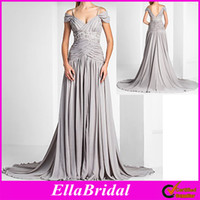 Wholesale New Silver Chiffon A Line Floor Length Off the Shoulder Spaghetti Straps Evening Dresses Occassion Wedding Evening Party Dress Gown
