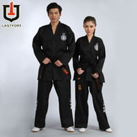 Wholesale new Black full embroidery itf tae kwon do beautiful clothes itf taekwondo