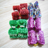 Wholesale Wholease Mix color Handmade Cat Dog accessories Bright Color Pet Dog Hair Bows Clips pets Grooming Charms