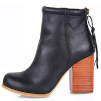 Half Boots leather boots - Jeffrey Campbell Leather Rumble Boot thick heel round toe short leg boots genuine leather boots