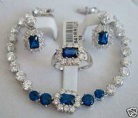 Wholesale Fashion Jewellery Women s Silver crystal Blue Stone Sapphire bracelet earring ring Jewelry set