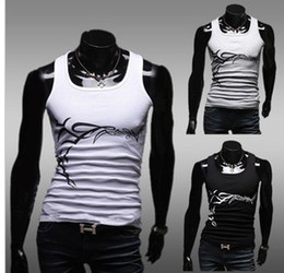 Wholesale Cheap Summer sleeveless Square Collar Prints Cotton Slim Fit Casual men s t shirts Mans Vest Color