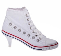 Lace-Up ash sneaker heels - ASH Denim Studded Ankle Trainers Sneakers new arrival high thin heels rivet sports women s shoes