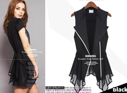 Wholesale Summer European Solid Color Chiffon Vest Women Irregular Hem Cardigan Sleeveless Vests