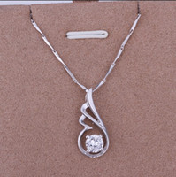 Wholesale Fashion Jewelry sterling silver inlaid zircon pendant necklace plating K white gold engagement gift