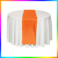 Wholesale Pieces Orange Satin Table Runner Wedding Table Cloth Table Runners for Holiday Favor Party Banquet Decoration
