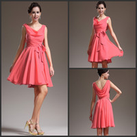 Bow aline bridesmaid dress - Best Selling Cheap Coral Short Chiffon Bridesmaid Dress Party Gown Aline Short Party Dress Custom Made