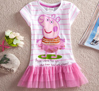 Wholesale Nova Kids Summer HOT Peppa pig boutique clothes Children Girls Cotton lace Short sleeve striped tutu Dress
