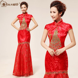 Wholesale Bride cheongsam wedding cheongsam dress retro long section sewn gold phoenix cheongsam improved summer