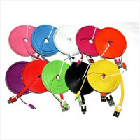 Wholesale 10 FT M Black FLAT COLOR Micro USB Data Sync Charging Cable Galaxy S4 S3 S2 HTC OnE