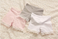 Girl cotton leggings - 2015 Korean Girls Summer Leggings Pure Cotton Splicing Lace Short Leggings Tights Pretty Children Shorts White Pink Grey Size