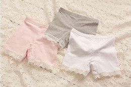 Wholesale 2015 Korean Girls Summer Leggings Pure Cotton Splicing Lace Short Leggings Tights Pretty Children Shorts White Pink Grey Size