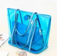 Wholesale Cheap Handbag Beach Bag Shoulder Bag Blue Orange Rose Red Yellow Color PVC Mix Order B5