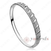 Wholesale 18K White Gold Plated Use Clean Swarovski Crystal Noble Bracelet B020W1