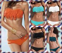 Cheap Fashion bikini Women's Bikinis Sexy swimsuits Beach clothing Swimwear Tassel bikini Hot spring bathing suit + free shipping