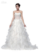Cheap Wow!! 2013 New Elegant Appliques Organza A-line Bridal Gown Prom Party Dress Wedding Dresses RL285