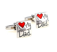 Wholesale Fashion Creative quot I Love My Father quot Alloy Cufflinks Men Suit Dress Cuff Links Jewels Father s Day Gift