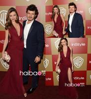 achat en gros de zuhair murad robe miranda kerr-Miranda Kerr zuhair murad v décolleté robes de célébrité en mousseline de soie Robe de soirée de tapis rouge 2014 CD008