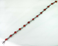 Wholesale Fashion Trendy Red agate stone S silver Bracelet B0624