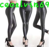 Wholesale 1000pcs stock for big promotion East Knitting FREE SHIP SED Shiny Metallic High Waist Black Stretchy Leather Leggings Tights Pants