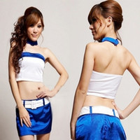Wholesale Racing girl costumes ds stewardess uniform temptation cheerleading clothes sexy clothes RPG Suit sets pack
