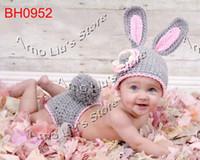 0-12 Months Crochet Hats Christmas Free shipping Retail Cute Rabbit Baby Hat and Shorts Handmade Crochet Newborn Photography Props hat