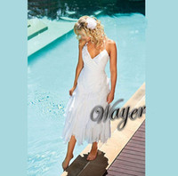 handkerchief dresses - 2013 New Arrival Sexy Halter Appliques Chiffon Tea Length Handkerchief Beach Wedding Dress Destination Wedding Dresses Beach Bridal Dress