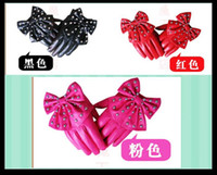 Wholesale Seconds kill ladies fashion leather gloves big bowknot imitation leather gloves XC colours