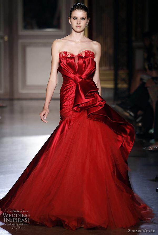 Zuhair Murad Red Mermaid Wedding Dresses Sweetheart