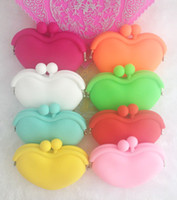 Wholesale 200pc heart Lady Girl Women Silicone makeup cosmetic rubber coin purse pouch wallet bag case H