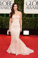 Reference Images Strapless Chiffon Elegant Chiffon Appliqued same as Megan Fox at Golden Globes Awards Prom Evening Dresses GF380