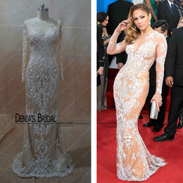Wholesale Celebrity Dresses Luxury Beaded Emrboridery Zuhair Murad Nude Fashion Tulle Evening Dresses with Long Sleeves Inspired by Jennifer