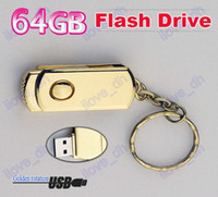 Wholesale 64GB Gold Rotating Swivel metal Key Chain Custom USB Flash Memory Pen Drive Sticks Thumb Drives Disks Discs GB Pendrives comcom