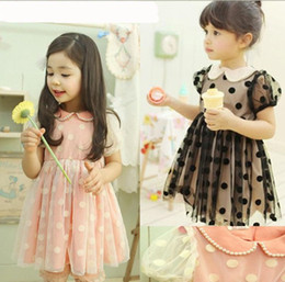Wholesale Pretty Girls Pure Cotton Short Sleeved Pearls Gauze Polka Dot Dress Girly Princess Dress Kids Summer New Bontique Clothes Black Pink