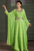 Model Pictures V-Neck Chiffon Arabic Dubai ABAYA KAFTAN Green Greek Dress Gold Embroidery Edge Muslim Dress Poet Long Sleeve With Beaded Evening Dresses formal gowns 2014