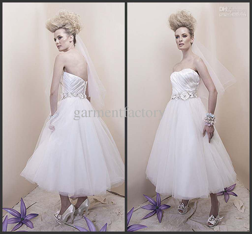 Beach Bridal Gowns Simple Style Strapless Tea Length White