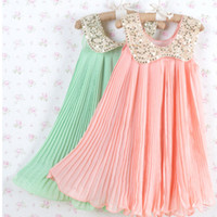 baby gril dress - 2013 Summer Girls Pleated Chiffon One Piece Dress With Paillette Collar Children Colthes For Kids Baby Pink Green Gril wear
